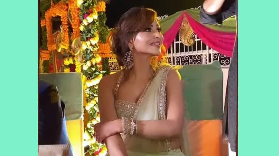 Trending: Urvashi Rautela dancing at a wedding wearing a stunning mint-green saree- Watch