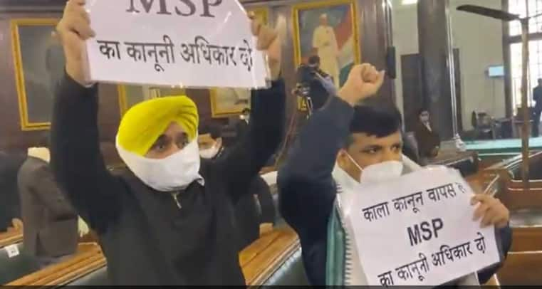 AAP members Sanjay Singh, Bhagwant Mann raise slogans in Parliament, ask PM Narendra Modi to repeal new farm laws