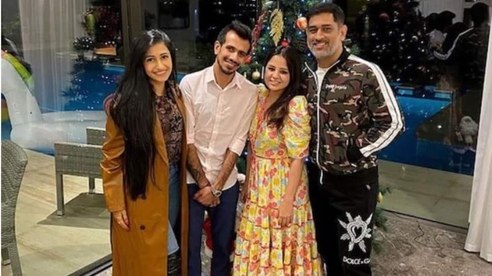 MS Dhoni hosts newlyweds Yuzvendra Chahal and Dhanashree Verma for dinner in Dubai: Pics here