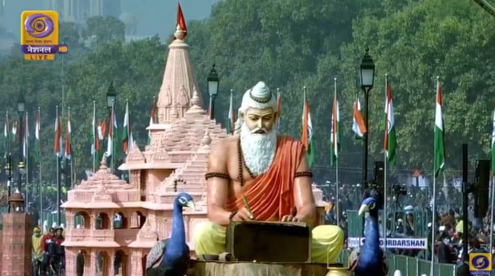 Designed on the theme 'Ayodhya: Cultural Heritage of Uttar Pradesh', the tableau of Uttar Pradesh displays Ram Mandir. (Photo: ANI)