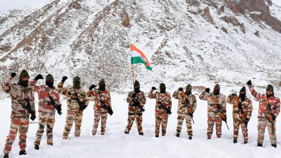 Indo Tibetan Border Police (ITBP) personnel celebrate Republic Day at a border outpost in Ladakh. (Photo: PTI)