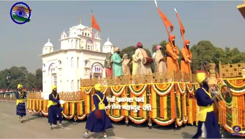 Tableau of Punjab showcases the glory of 9th Sikh Guru, Sri Guru Tegh Bahadur. The tableau has the theme '400th Birth Anniversary of Sri Guru Tegh Bahadur'. (Photo: ANI)