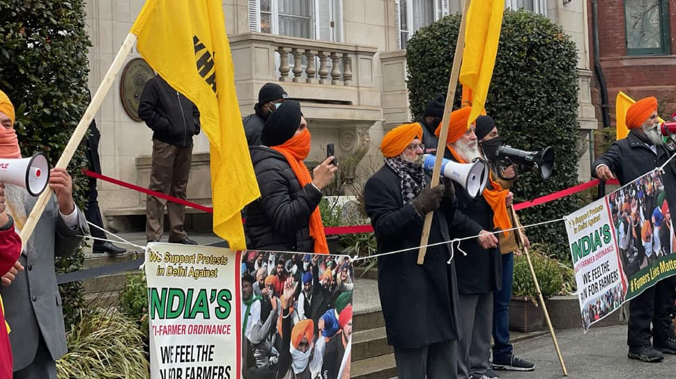 Pro-Khalistan groups hold protest in Washington in support of farmers protesting against farm laws