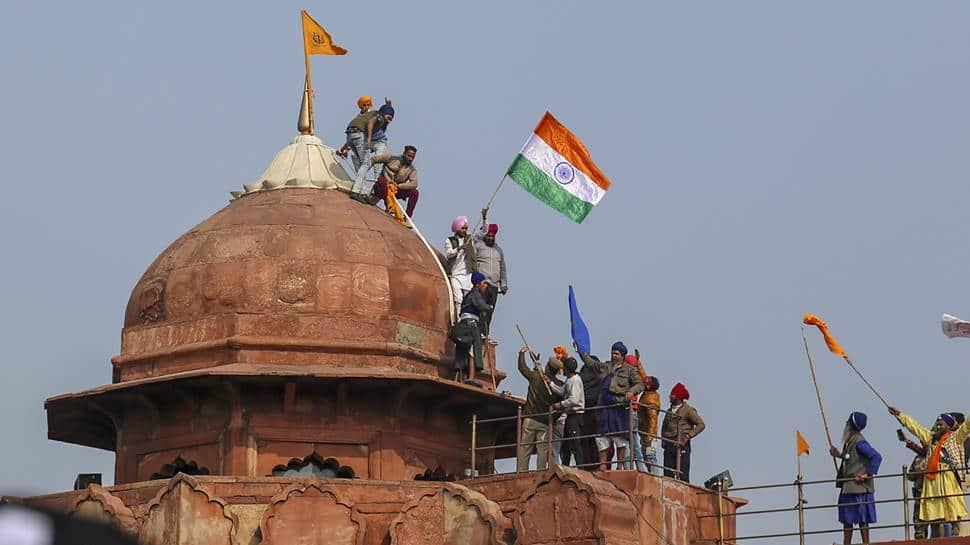 Image result for delhi-tractor-march-violence-red-fort