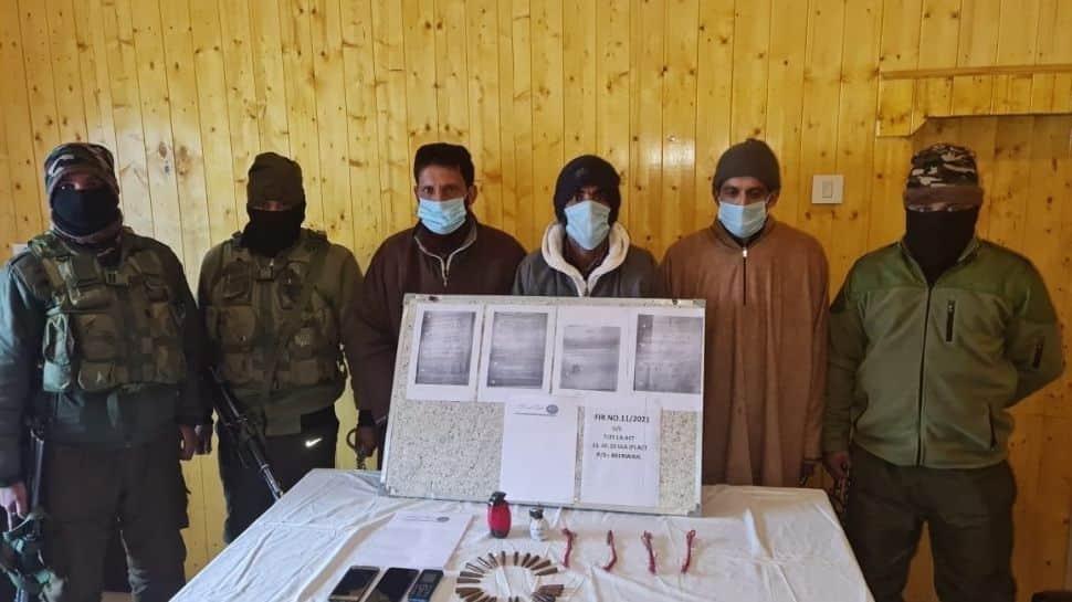 3 LeT terrorist associates arrested in J&K`s Budgam; 2 hand grenades, four detonators recovered thumbnail