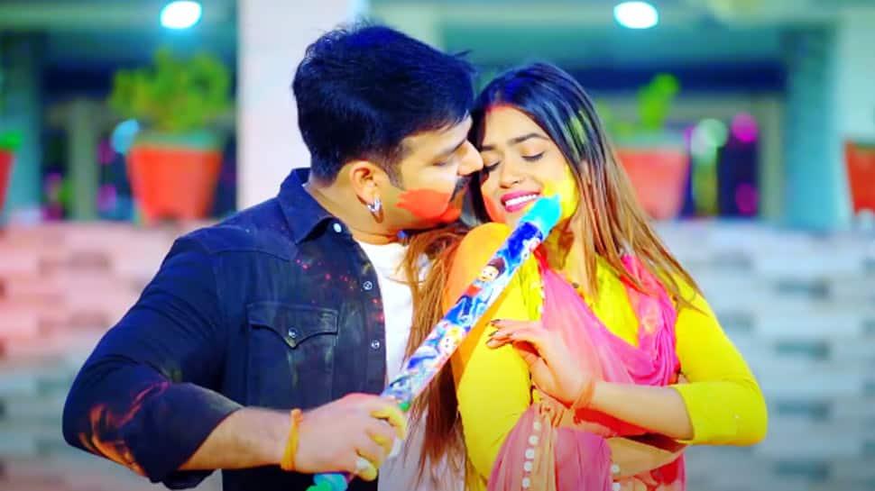 Pawan Singh's new Bhojpuri Holi 2021 song Lahe Lahe Rangab Salwara with Dimpal Singh goes viral - Watch