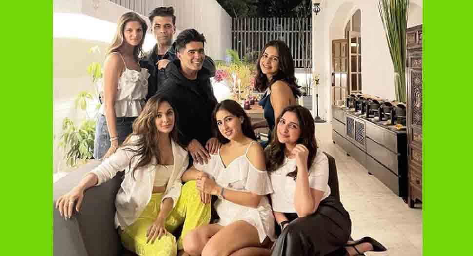 Karan Johar attends Manish Malhotra's bash, shares 'pawri' pic with Sara Ali Khan, Kiara Advani, Rakul Preet