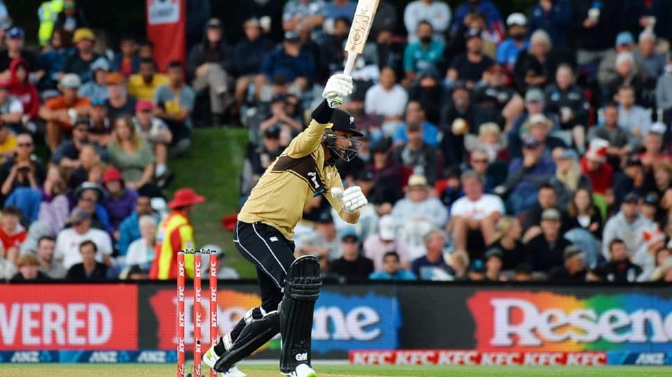 NZ's Devon Conway en route to scoring an unbeaten 99 in the first T20 against Australia in Christchurch. (Source: Twitter)