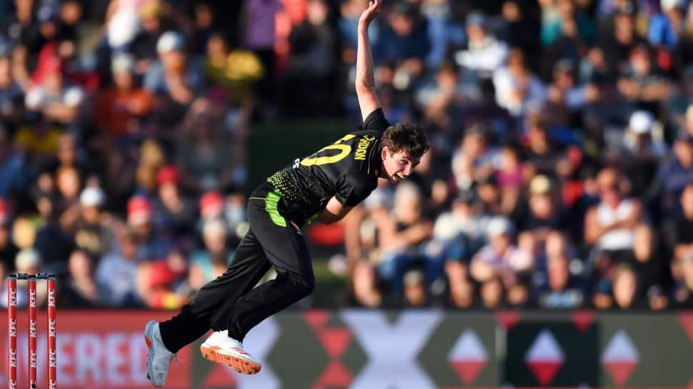 Australia's Jhye Richardson, who was bought by Punjab Kings for Rs 14 crore by Punjab Kings, picked up 2/31 in 1st T20. (Source: Twitter)