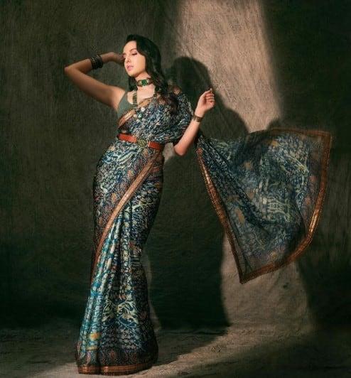 Nora Fatehi indo-western saree look