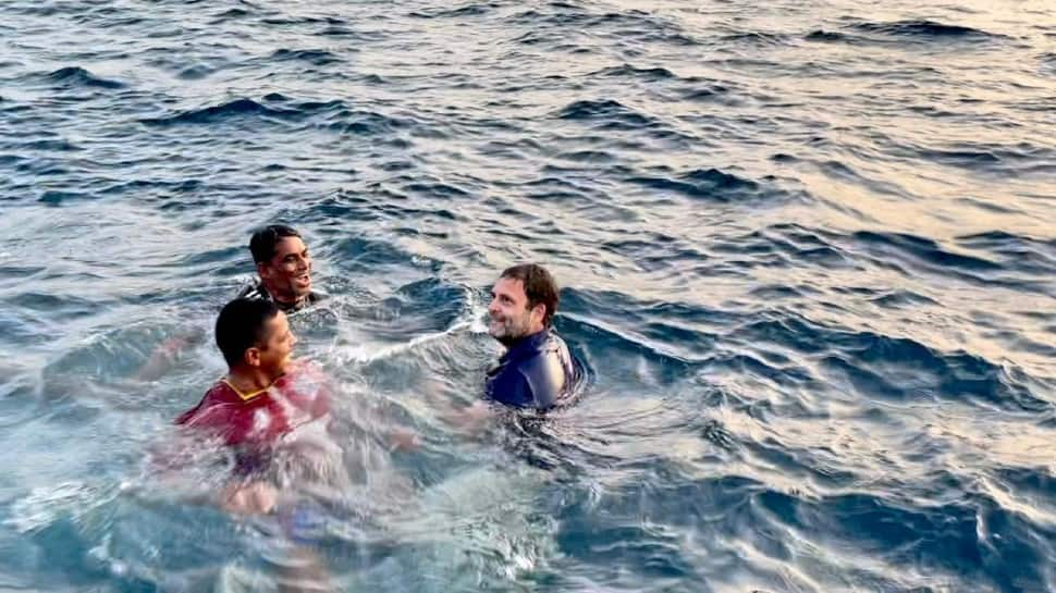 Rahul Gandhi jumps into sea in Kerala, watch video here