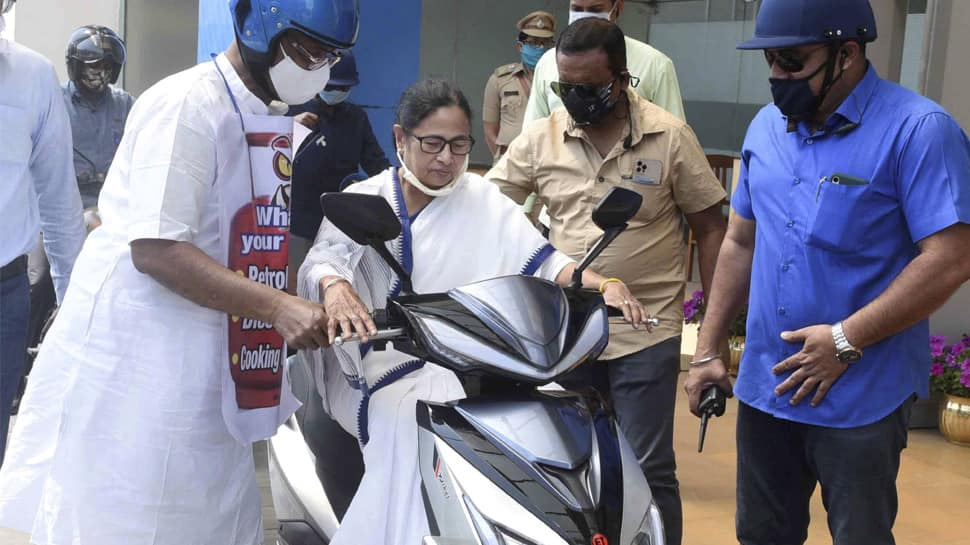 West Bengal CM Mamata Banerjee nearly falls while driving electric scooter: WATCH
