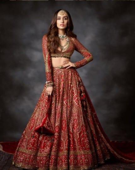 Shraddha looks incredible in a red lehenga set
