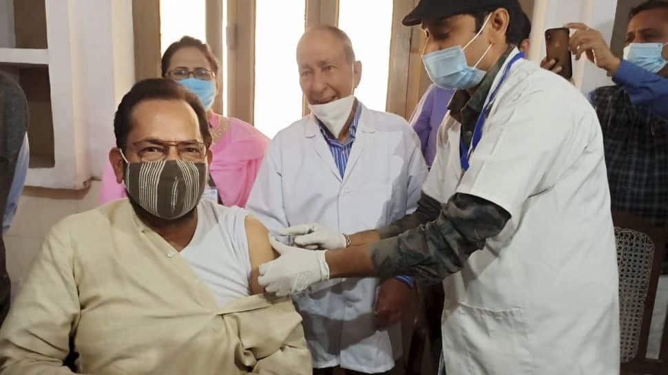 Union Minister Mukhtar Abbas Naqvi gets first dose of COVID-19 vaccine