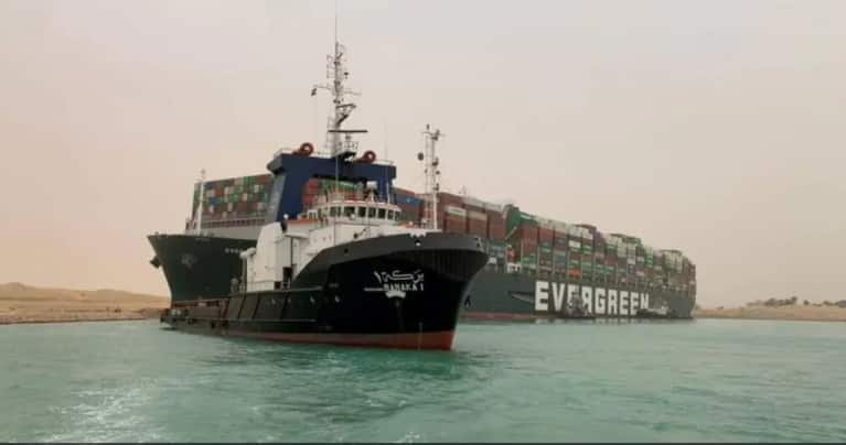'Beached whale' ship of Japanese firm may block Suez Canal for weeks