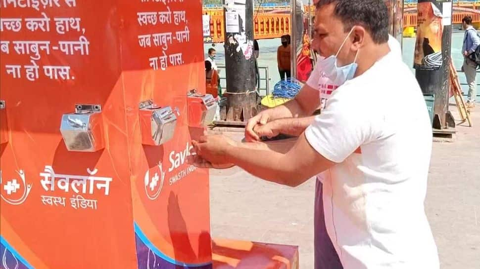 Sanitizers stations installed at ghat