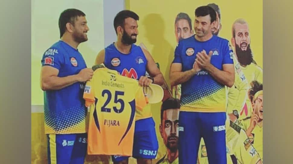 IPL 2021: MS Dhoni presents CSK jersey to Chesteshwar Pujara and other new recruits, see pics