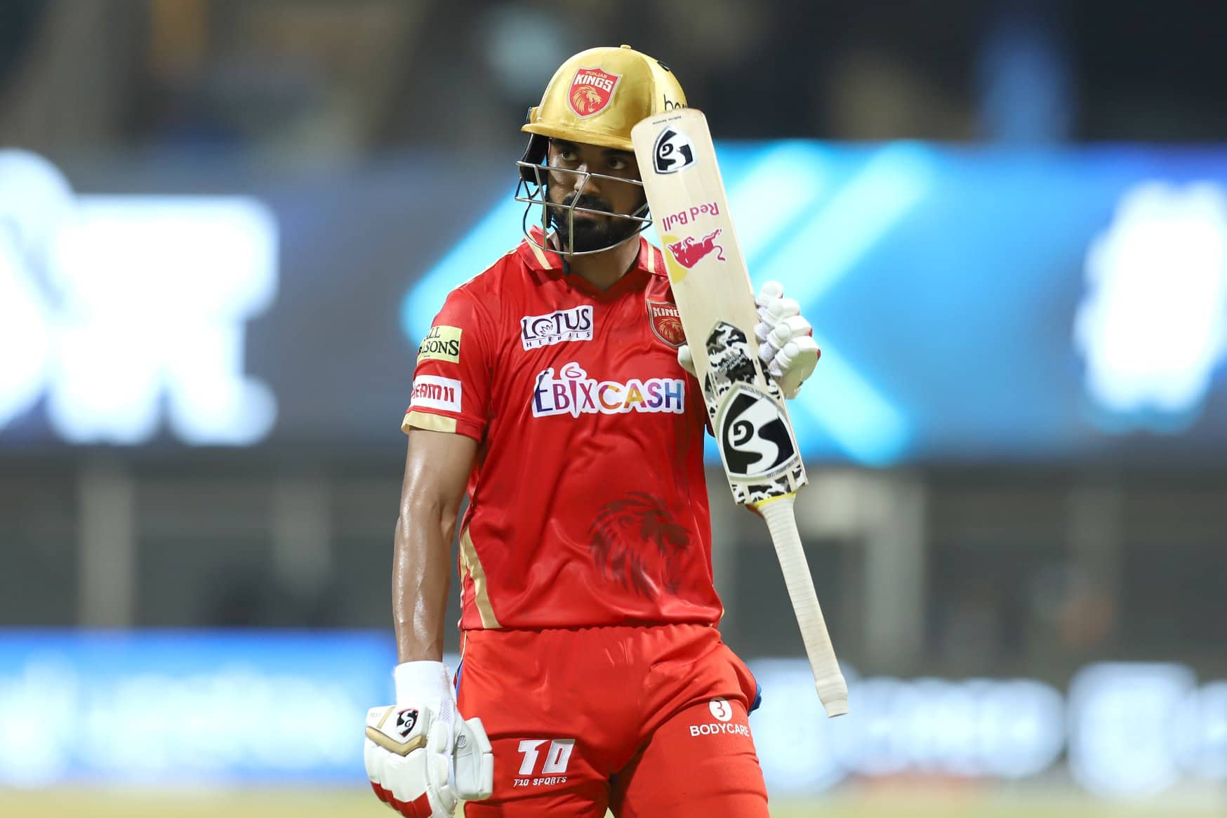 Punjab Kings captain KL Rahul acknowledges the cheers after completing a half-century against Rajasthan Royals in Mumbai. (Photo: IPL)