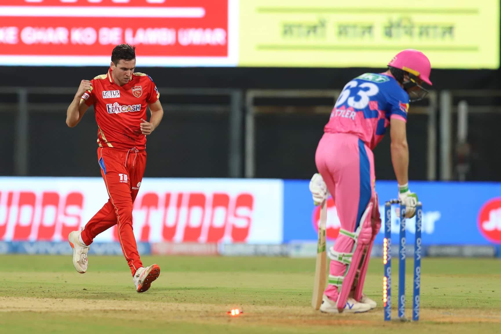 Australian paceman Jhye Richardson of Punjab Kings celebrates after dismissing Rajasthan Royals' Jos Buttler in Mumbai. (Photo: IPL)