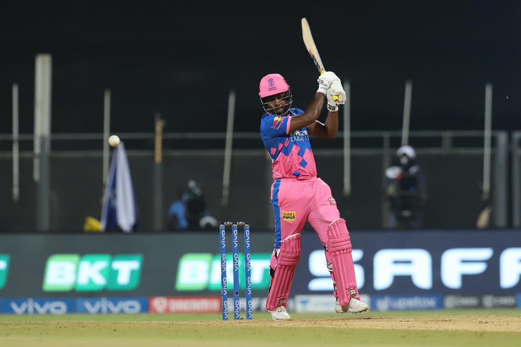 Rajasthan Royals captain Sanju Samson en route to scoring 119 against Punjab Kings in their IPL 2021 match in Mumbai. (Photo: IPL)