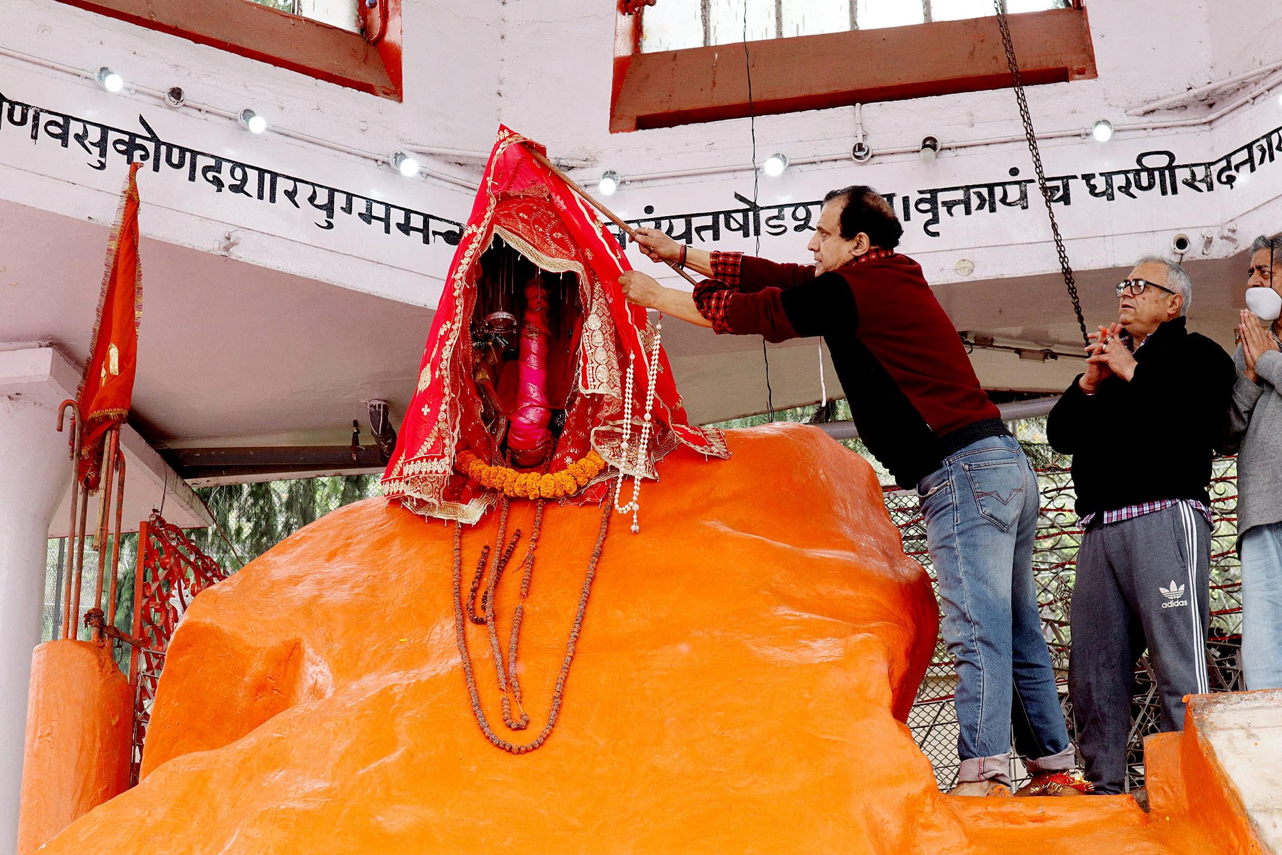 Devotees offer prayers at Sharika Temple in Kashmir