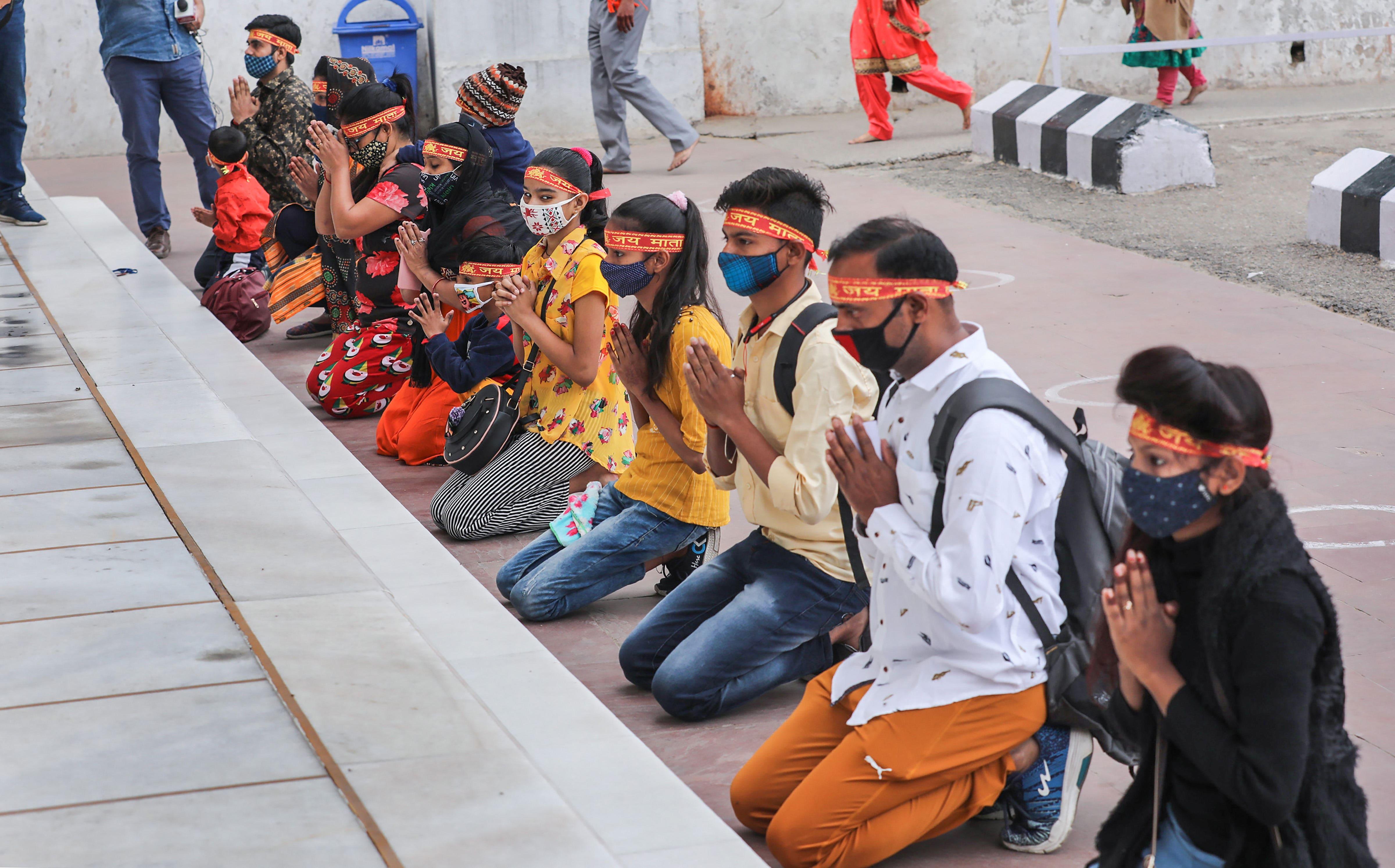 Devotees on their way to Mata Vaishno Devi Temple, Jammu