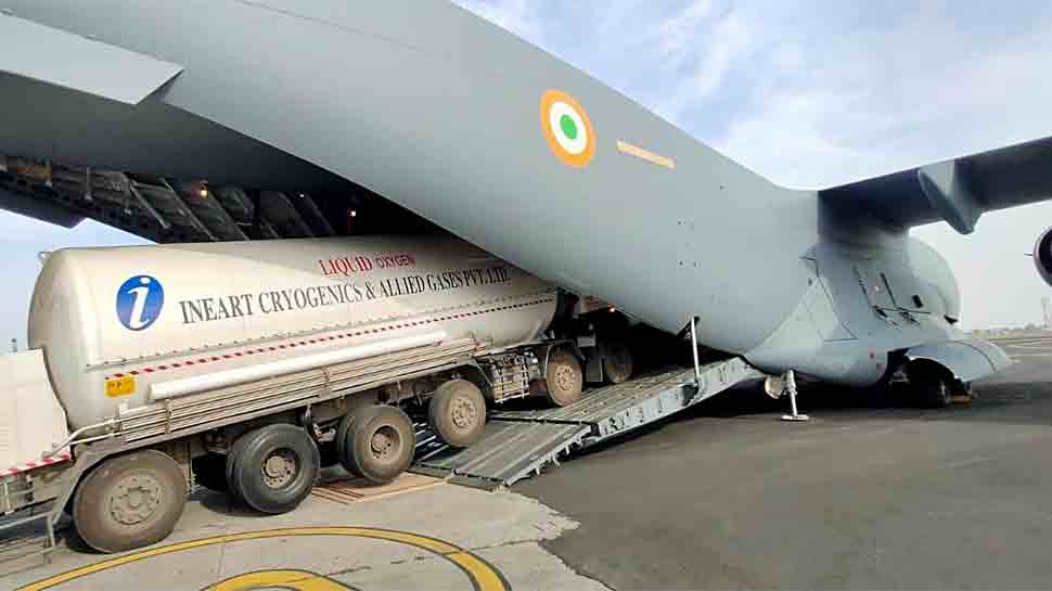 Indian Air Force ferries Oxygen containers amid severe COVID-19 crisis