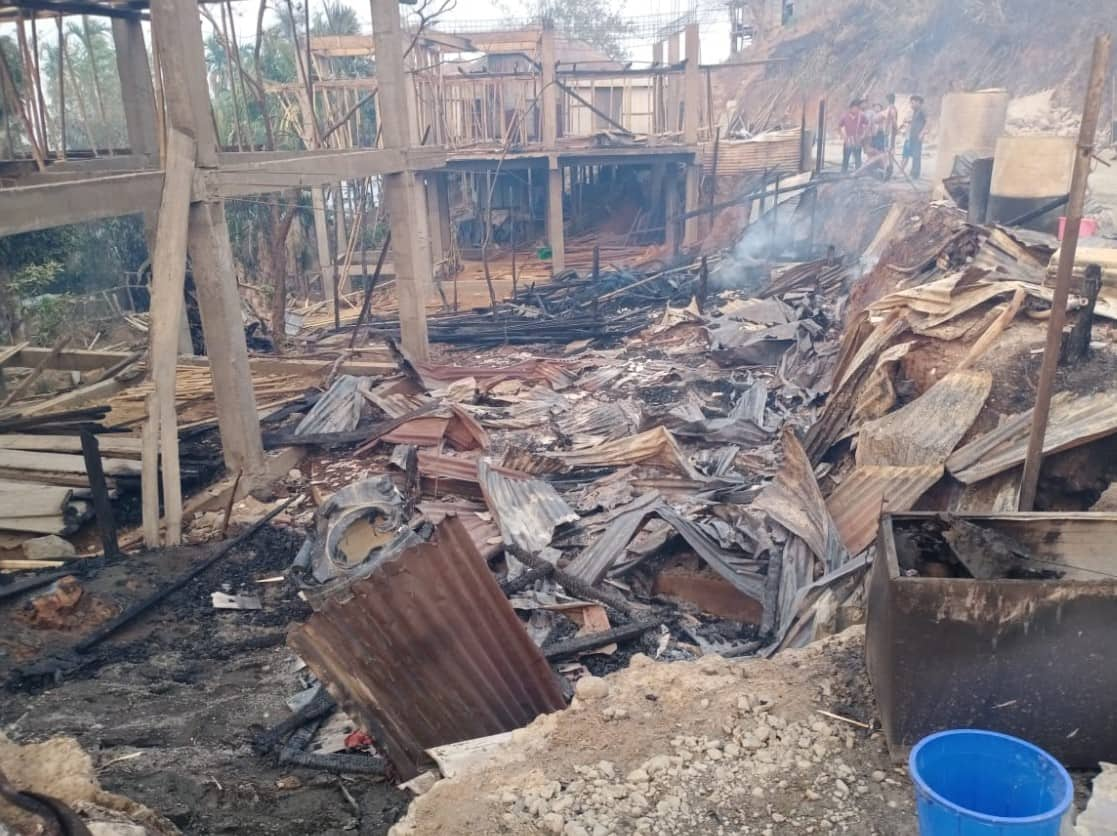 Burnt down houses due to massive forest fire