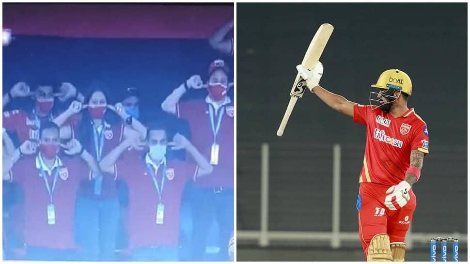 IPL 2021, PBKS vs RCB: Punjab Kings Management copy KL Rahul's trademark celebration after skipper slams fifty - WATCH