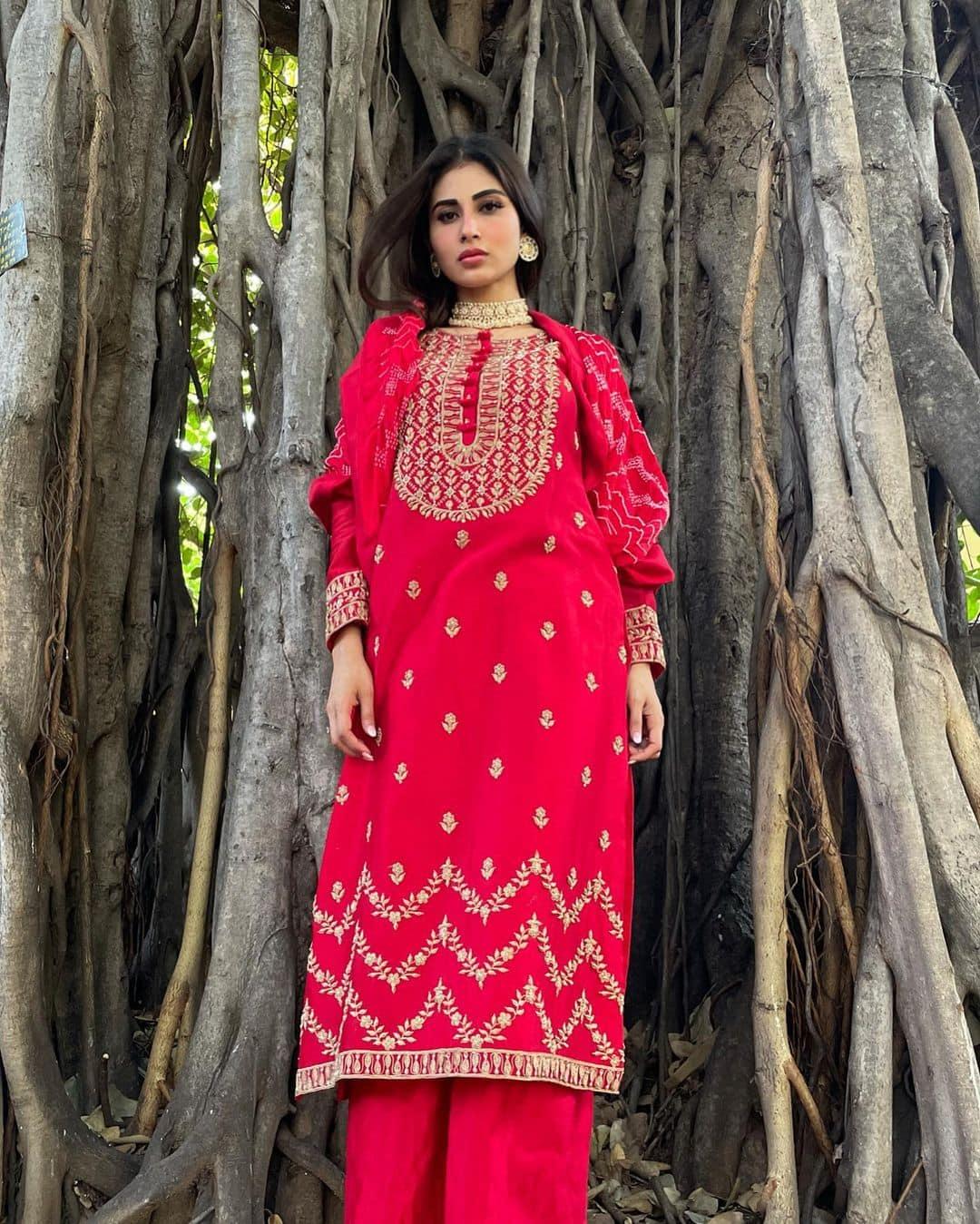 Mouni looks ravishing in  red salwar and pants