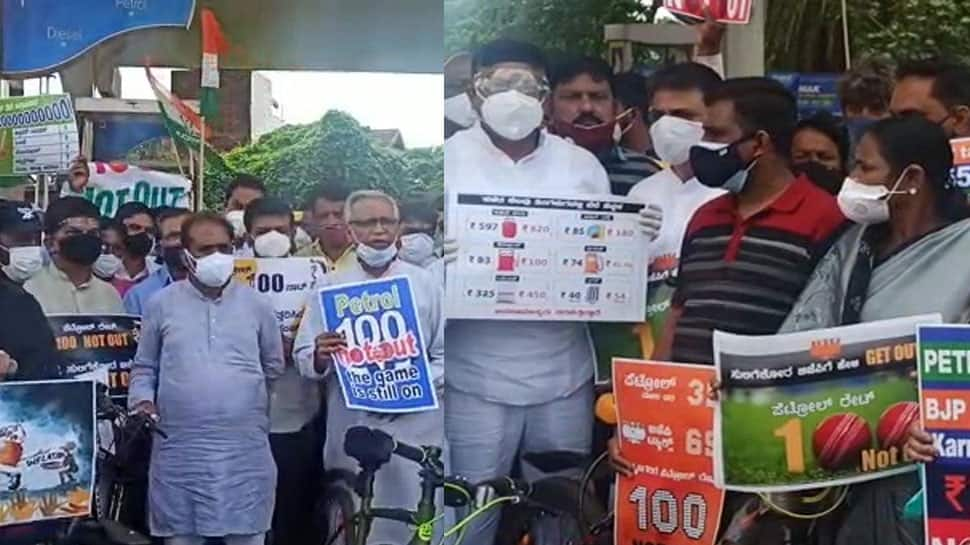 Congress holds nationwide protests towards rising gas costs, calls for rollback of excise obligation hike on petrol, diesel | India News