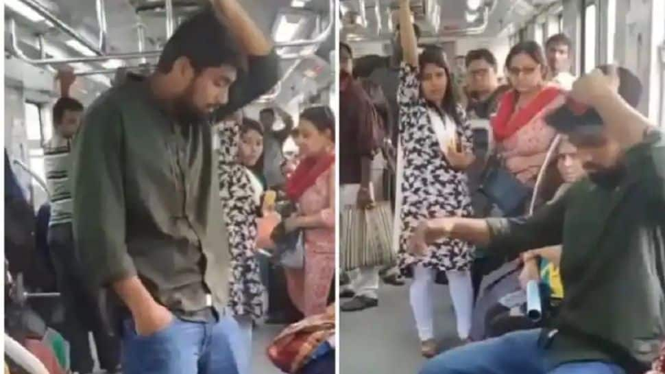 Man uses hilarious trick to get seat in crowded metro train, video goes viral - Watch