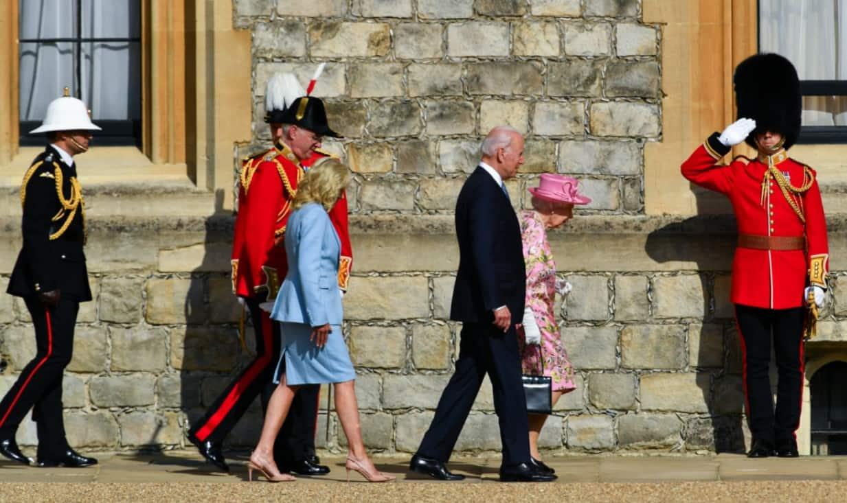 Joe Biden with Britain's Queen Elizabeth