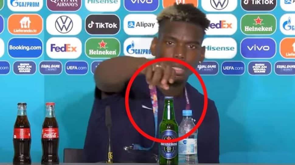 UEFA Euro 2020: Paul Pogba follows Cristiano Ronaldo, removes Heineken bottle due to Islamic beliefs - WATCH