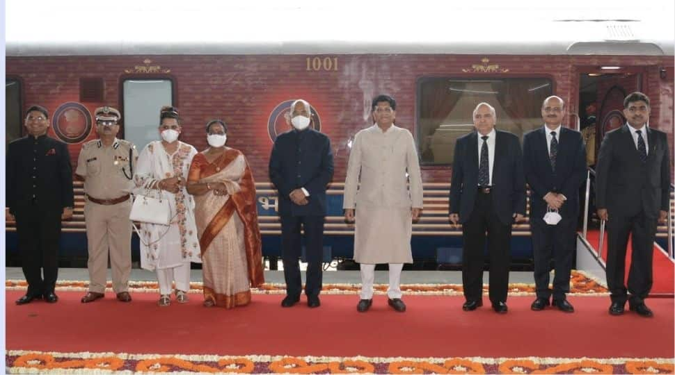 President Ram Nath Kovind travels on a special presidential train to Kanpur, UP