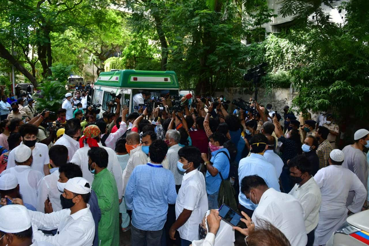 Fans and well-wishers outside Dilip Kumar's residence