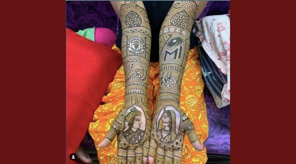 Sporty Bride! Woman gets Manchester United and Mumbai Indians logos on her Mehendi ceremony