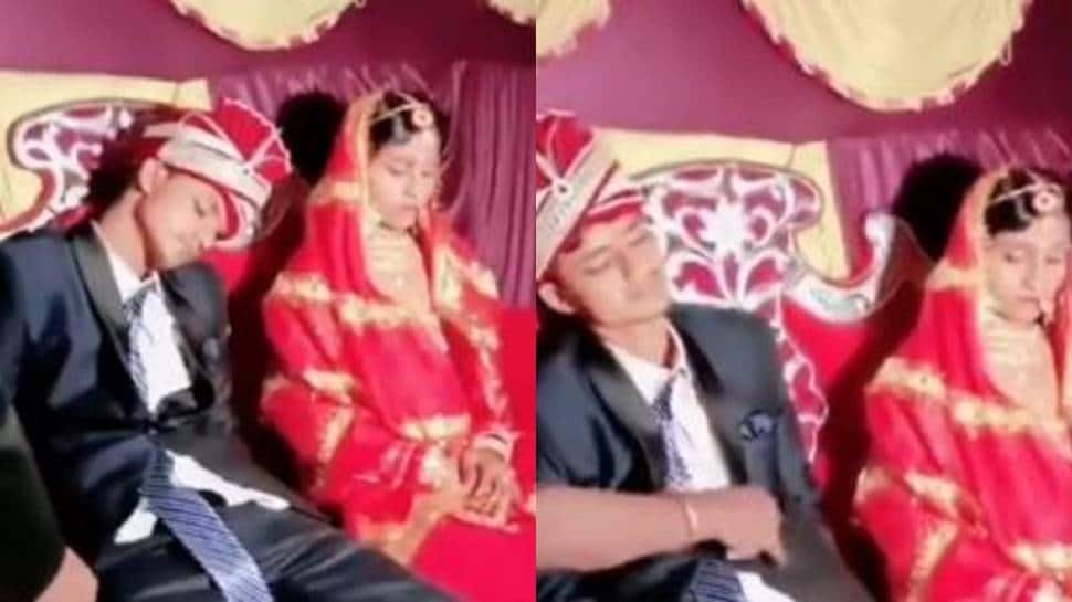 Dulha falls asleep on stage with bride sitting next to him, confused baaratis try to wake him up - Watch