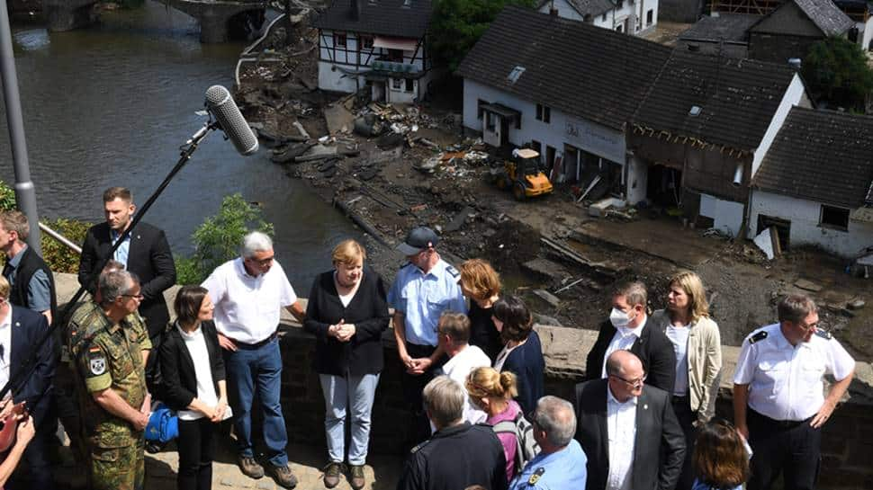 German chancellor at flood-hit areas