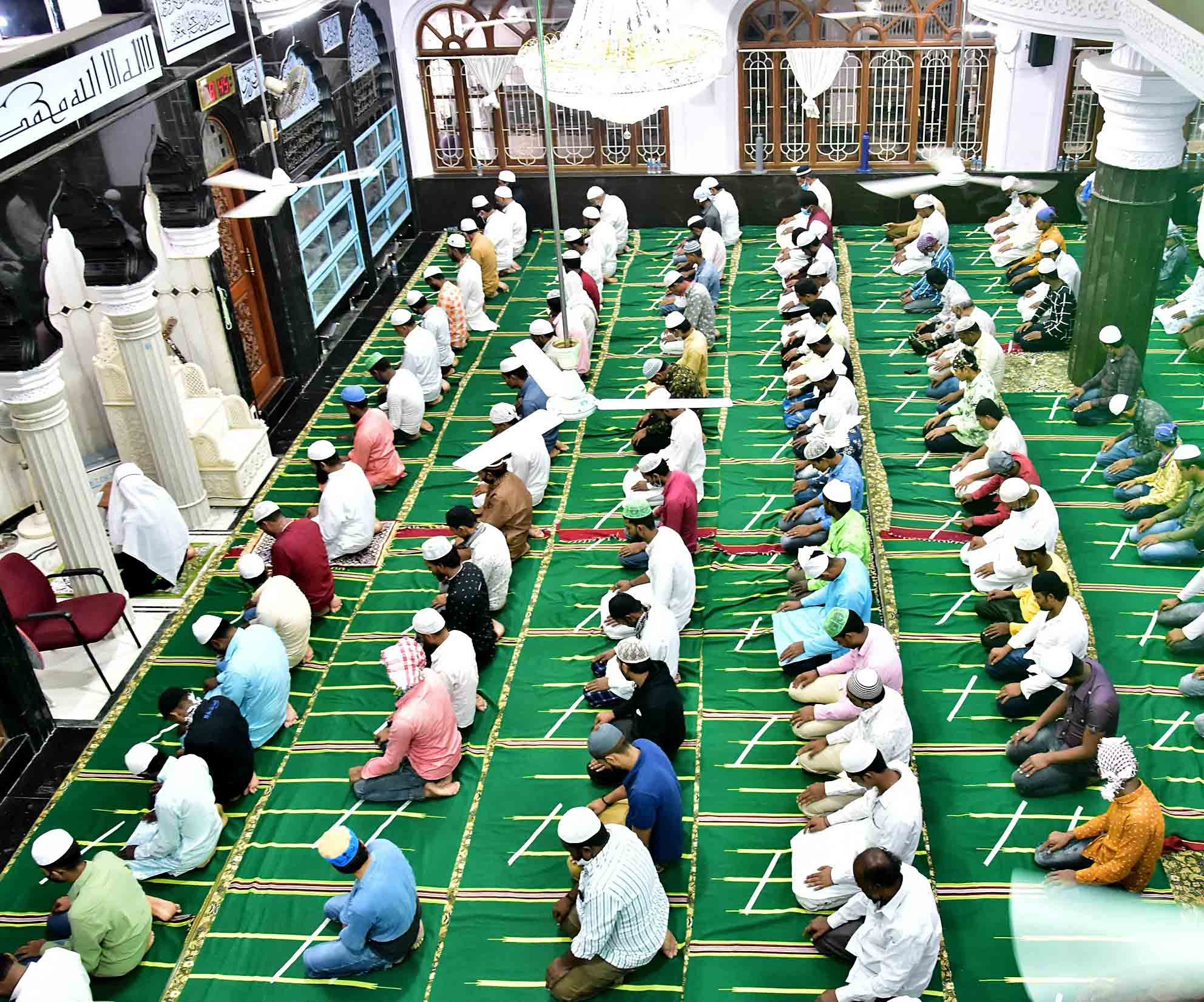 Muslims offer prayers on the occasion of Eid-al-Adha