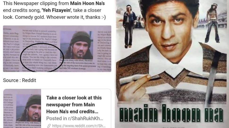 Viral: Netizens find 'comedy gold' in close-up pic of newspaper from Shah Rukh Khan's Main Hoon Na!