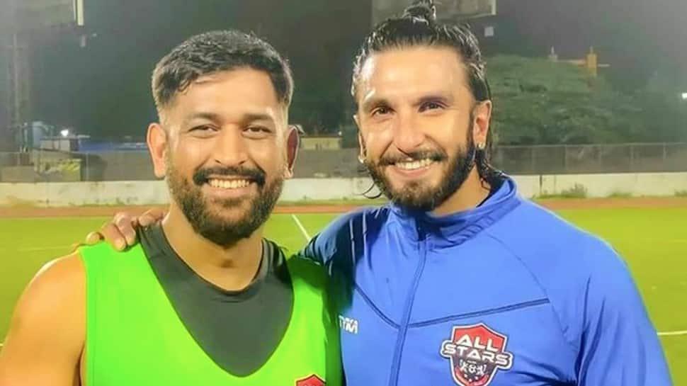 IPL 2021: MS Dhoni hugs Ranveer Singh during friendly football match, watch video