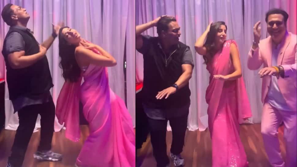 Nora Fatehi recreates Zalima Coca Cola hook step with Ganesh Acharya, Govinda adds his signature style - Watch viral video!