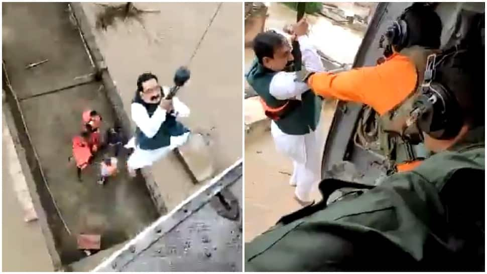Madhya Pradesh Home Minister Narottam Mishra gets stuck in flood-hit Datia village, airlifted by IAF chopper
