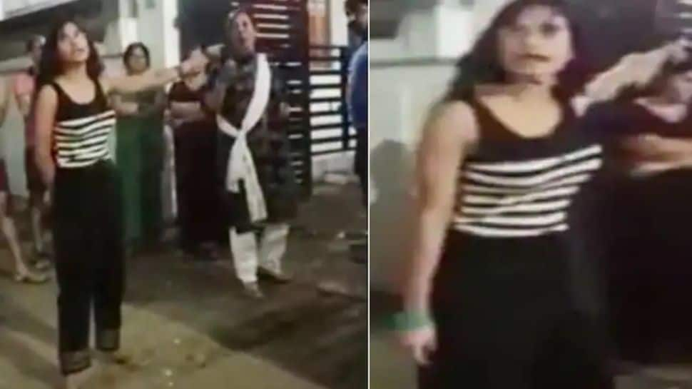 Another shocking video of Lucknow girl screaming at neighbours for black wall paint surfaces- Watch