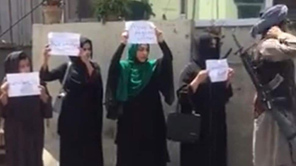 Four women demand their rights, take to Kabul's streets