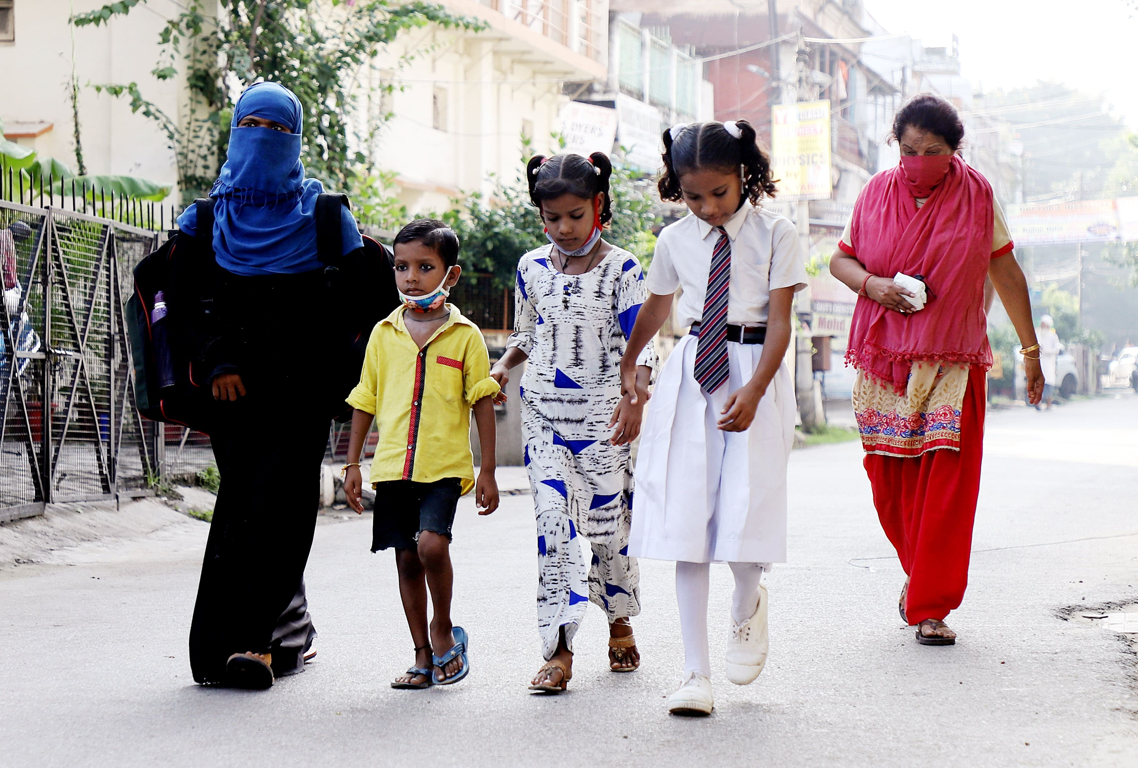Students on their way to schools in UP