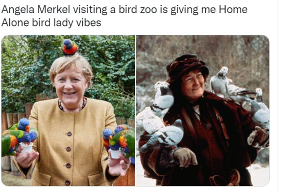 Angela Merkel compared to Home Alone lady with birds