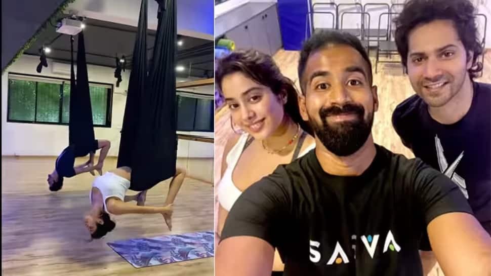 Janhvi Kapoor, Varun Dhawan turn yoga buddies and perform tough aerial asanas, Malaika Arora reacts
