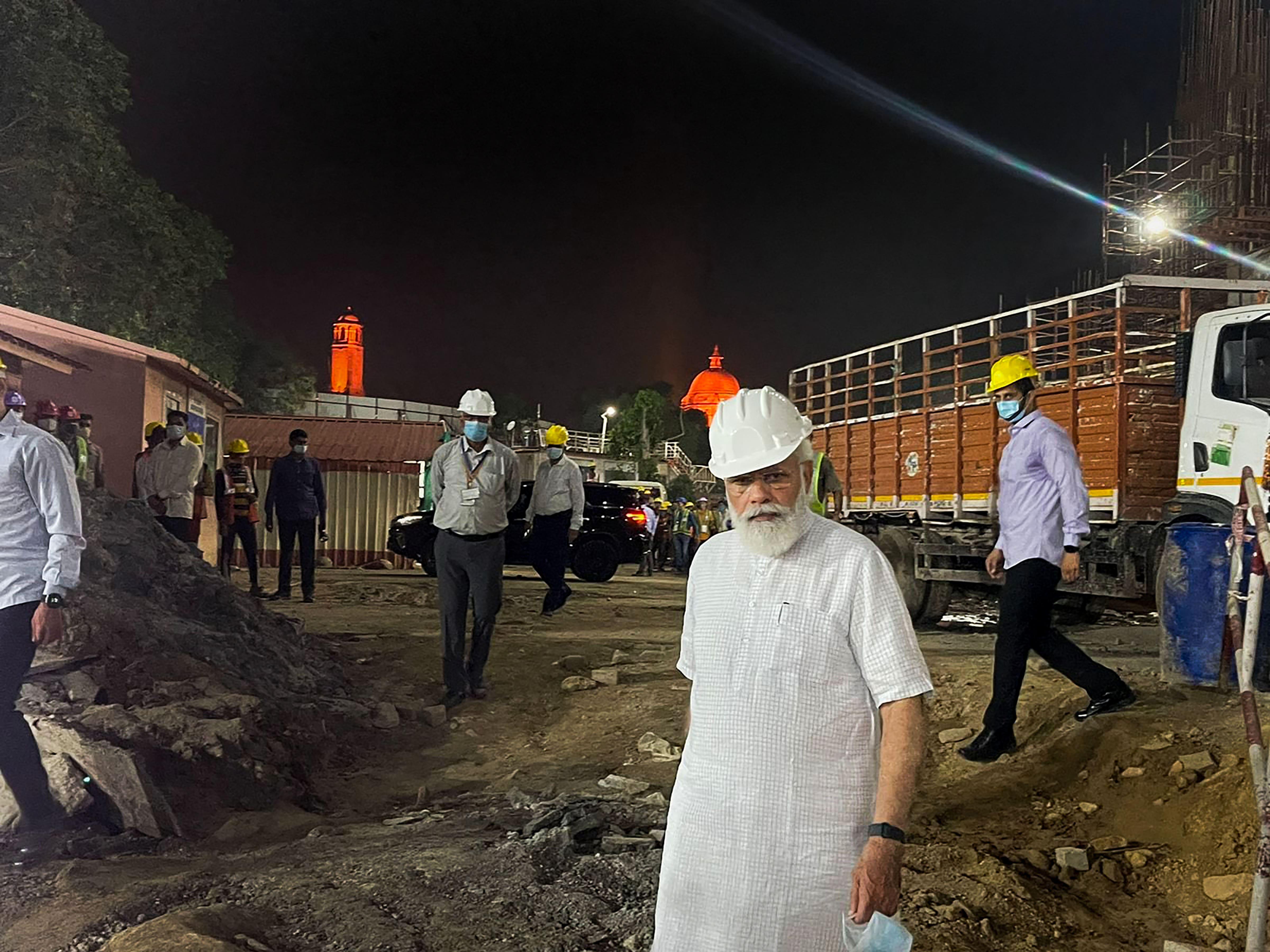 PM Modi at Cental Vista Project construction site